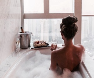 girl, bath, and relax image