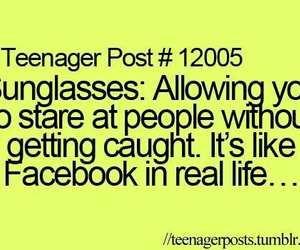 teenager post, facebook, and sunglasses image