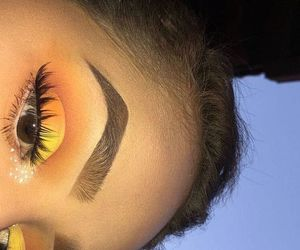 makeup, eyebrows, and yellow image