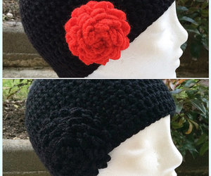 etsy, wool beanie, and hat with flower image