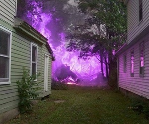 fire, house, and purple image