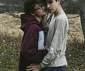 autumn, couple, and gay image