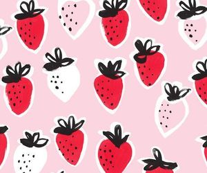 background, pattern, and strawberries image