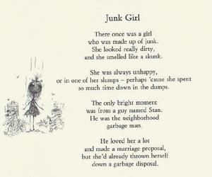 junk girl, poem, and tim burton image