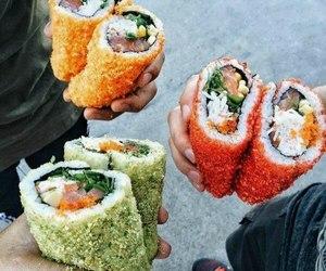food, yummy, and sushi image