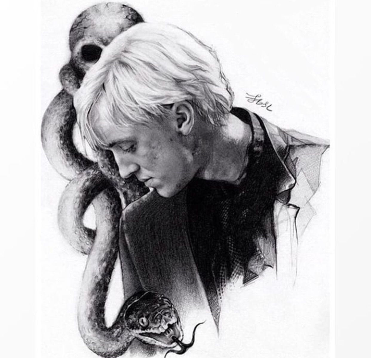 black and white, boy, and draco malfoy image