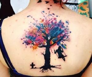 acuarela, arbol, and tatto image