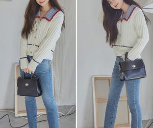 asian fashion, cardigan, and kfashion image