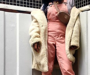 straight black hair, pink overalls, and long teddy bears coats image