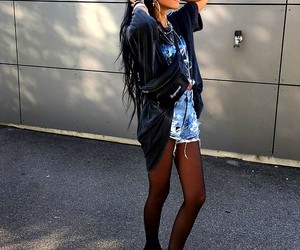 black sneakers, black tights, and long straight black hair image
