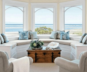 beach house, beach view, and white furniture image