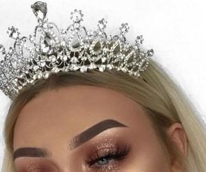 makeup, girl, and crown image