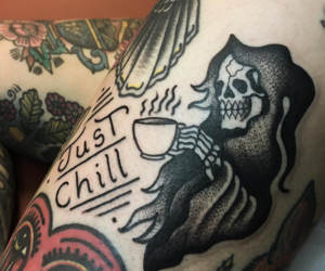 tattoo, coffee, and grim reaper image