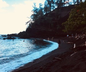beach, black sand, and hawaii image