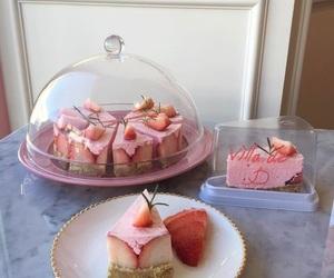 food, pink, and cake image