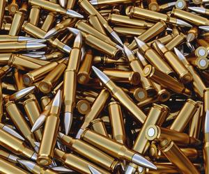 bullet, gun, and gold image