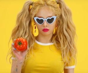 hyuna, yellow, and lip & hip image
