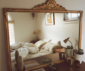 home, bedroom, and mirror image