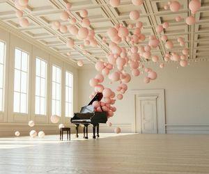 balloons, pink, and piano image