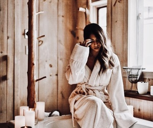 bath, bath robe, and candles image