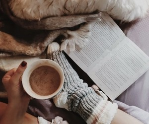 book, cocoa, and cozy image
