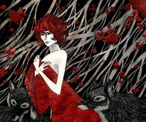 red flowers and redhead wolves art image