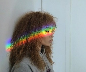 rainbow, girl, and curly image