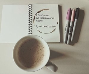 coffee, motivation, and notebook image