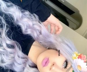 girls, makeup, and purple image