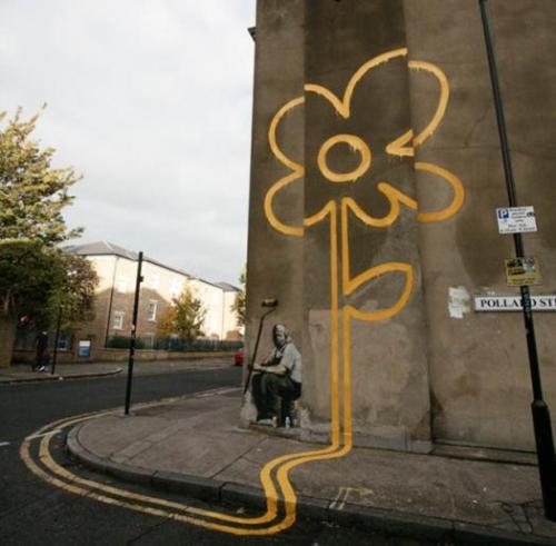 BANKSY, flowers, and street art image