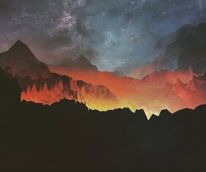 sky, mountains, and stars image