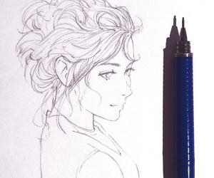 anime girl, sketch, and beautiful image