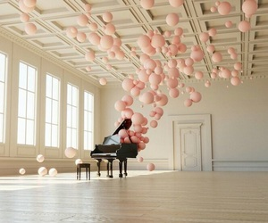 balloons, pink, and piano image