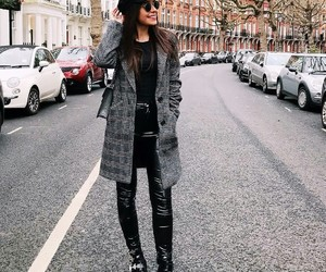 blazer, fashion, and leather pants image