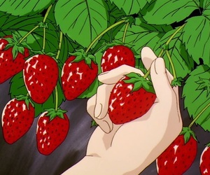 strawberry, anime, and red image
