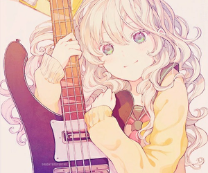 guitar, anime girl, and rockstar image