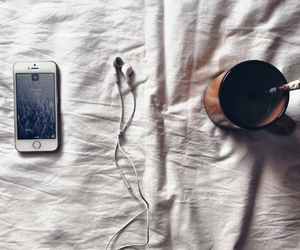 coffee, music, and iphone image