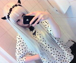 white hair, girl, and cute image