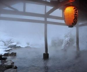 japan, snow, and hot spring image