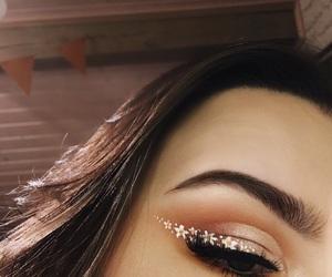 eye, flower, and makeup image
