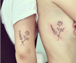 tattoo, sisters, and flowers image