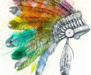 indian, art, and feather image