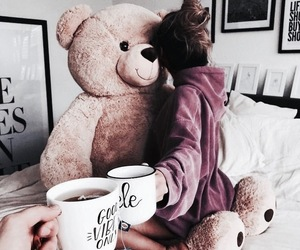 girl, teddy, and coffee image