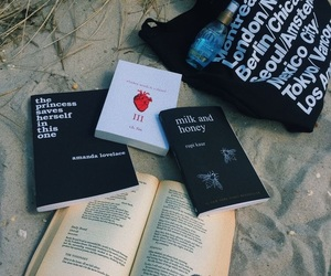 book, beach, and poem image
