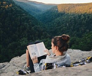 book, girl, and nature image