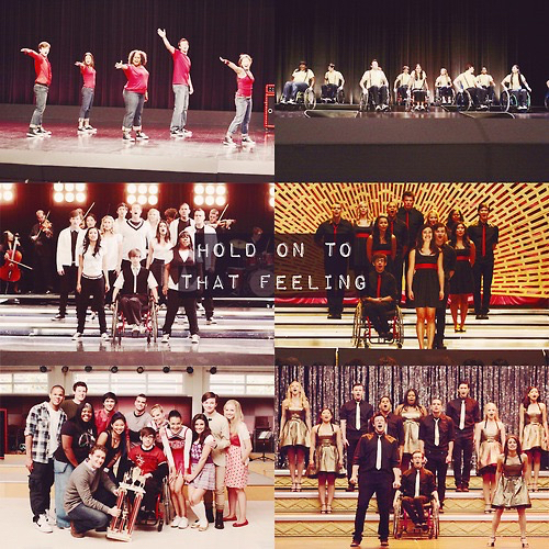 glee, don't stop believing, and glee cast image