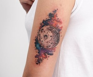 body art, tattooed, and galaxy image