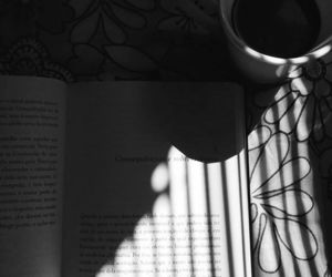 black and withe, book, and coffee image