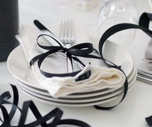 black, fork, and glass image