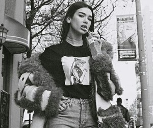 dua lipa and black and white image